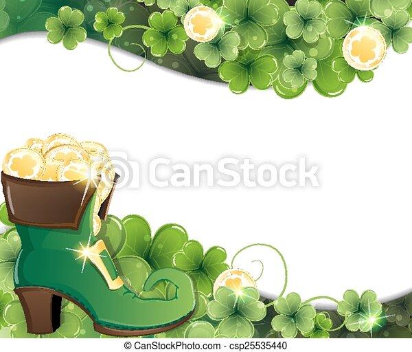 Leprechaun shoe, clover and gold co - csp25535440