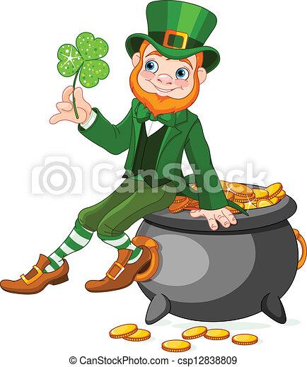 Leprechaun sitting on pot of gold - csp12838809