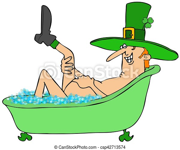 illustration of an irish leprechaun taking a bubble bath in stock rh canstockphoto com bubble bath clipart black and white girl in bubble bath clipart