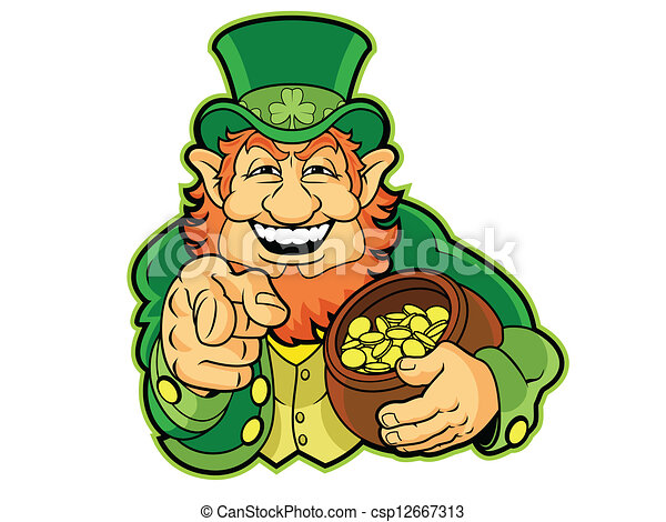leprechaun with a pot of gold rh canstockphoto com leprechaun vector art leprechaun vector free