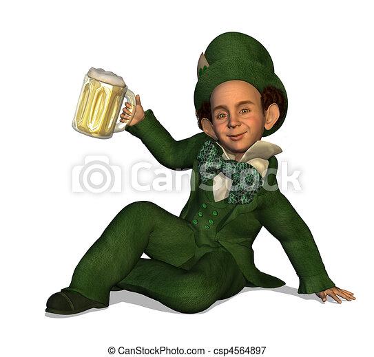 Leprechaun with Beer - csp4564897