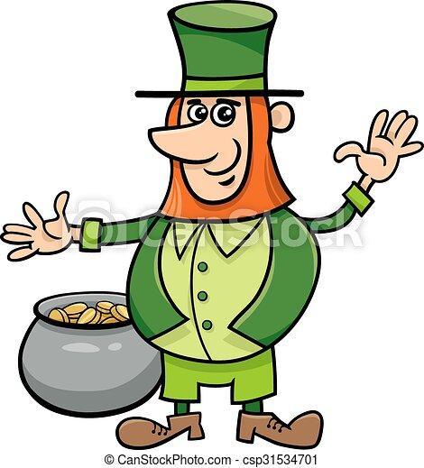 leprechaun with pot of gold cartoon illustration of leprechaun on