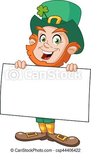 Leprechaun with sign - csp44406422