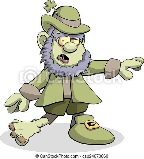 vector illustration of a leprechaun zombie searching for clip rh canstockphoto com clipart zombie head zombies clipart gif