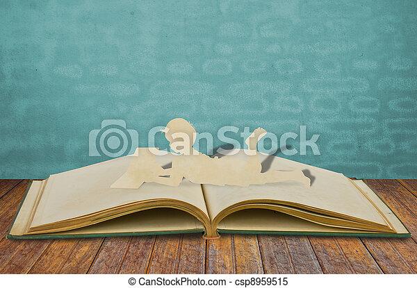 ler, papel, corte, livro, crianças - csp8959515