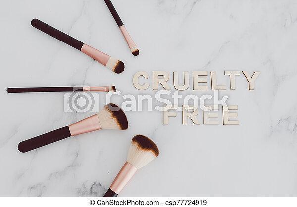 les, maquillage, industrie, produits, poil, référer, usage, cruauté, vegan, synthétique, brosses, gratuite, suivant, beauté, texte - csp77724919