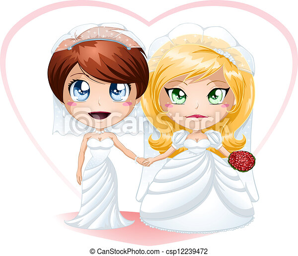 Lesbian Brides In Dresses Getting Married - csp12239472