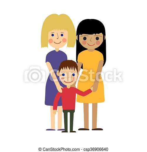 lesbian family with kid gay parenting female gay family eps rh canstockphoto com gay pride clipart gay wedding clipart free