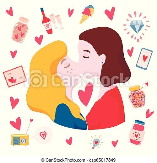 Good Cartoon kissing lesbian