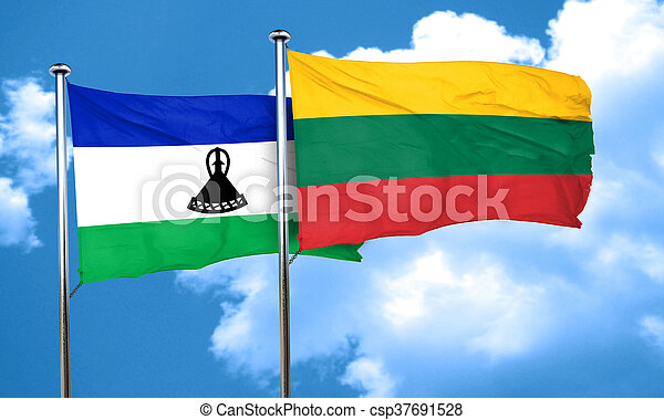 Lesotho flag with Lithuania flag, 3D rendering - csp37691528