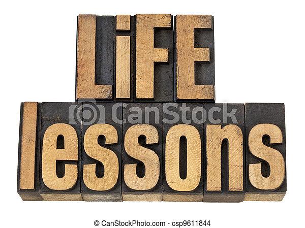 lessen, leven, tekst, -, hout, type - csp9611844