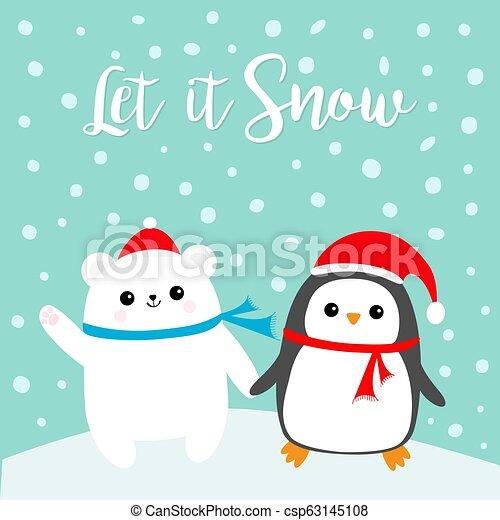 f396a2aa5b1a0 Let it snow. kawaii penguin bird polar white bear cub. red santa ...