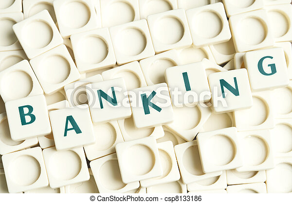 leter, bankwezen, gemaakt, woord, stukken - csp8133186