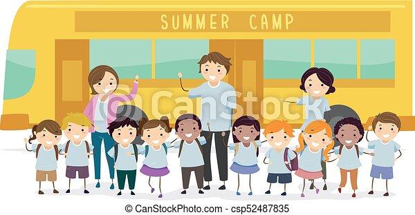 letnie dzieciska, stickman, ilustracja, obóz - csp52487835