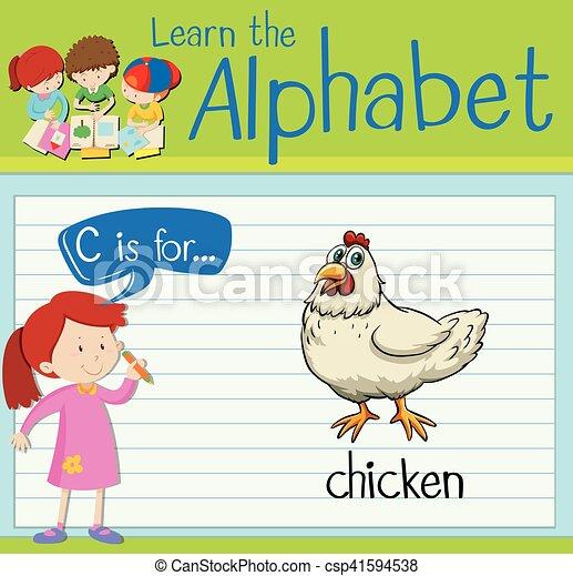 La letra de la tarjeta C es para el pollo - csp41594538