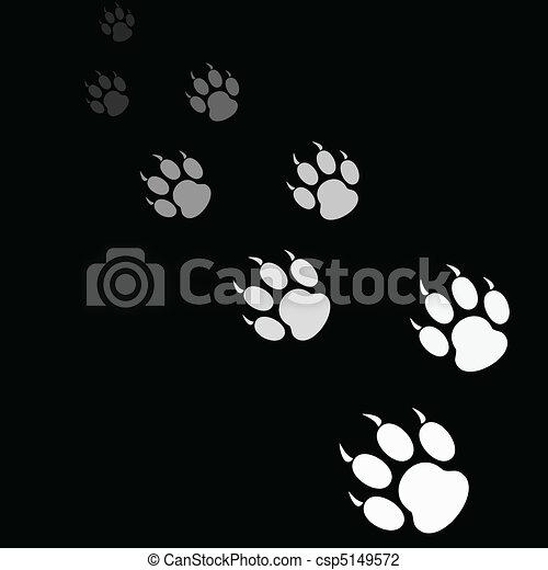 La huella de la pata de tigre en el fondo negro - csp5149572