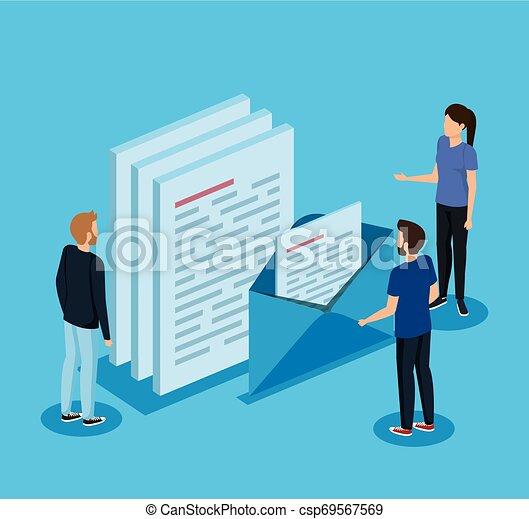 letra, informação, mulher, documentos, homens - csp69567569