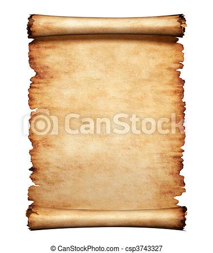 letra, papel, antigas, pergaminho, fundo - csp3743327
