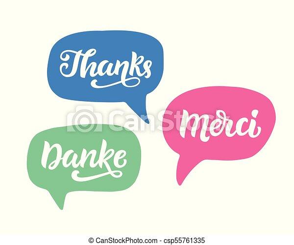 Gracias Frase Letra Escrita A Mano En Alemán Inglés Y