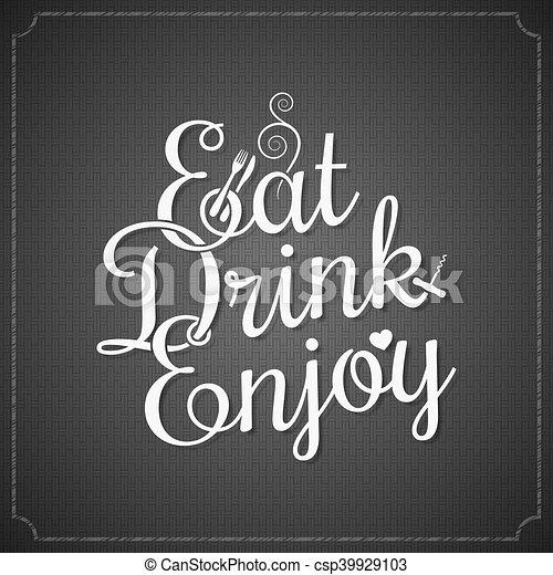 Comida y bebida clásica de fondo de letras de tiza - csp39929103
