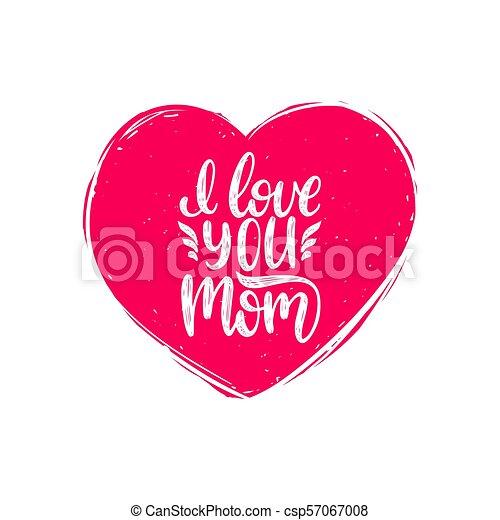 Letras Amor Madres Calligraphy Ilustración Mano Forma Corazón