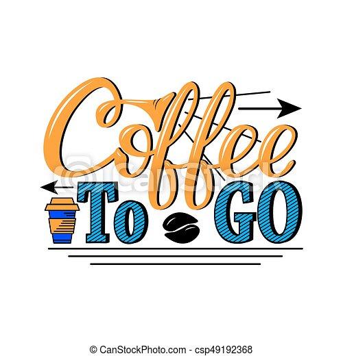 Letras, café, go., impresiones, menú, hand-drawn, banderas, logotipo ...