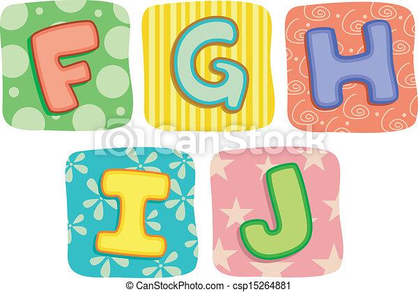 letras, colcha, g, f, alfabeto, j, h - csp15264881