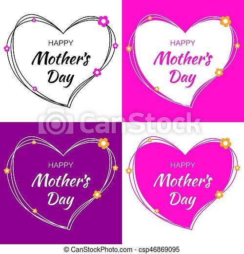 Letras Conjunto Heart Madre Madres Flowers Vector Corazones Garabato Día Tarjeta Feliz