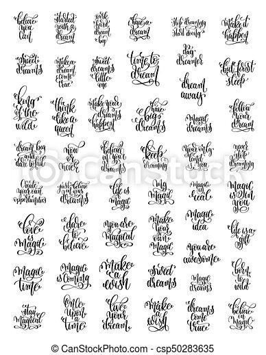 Letras Conjunto Magia Positivo 50 Citas Sueños Manuscrito