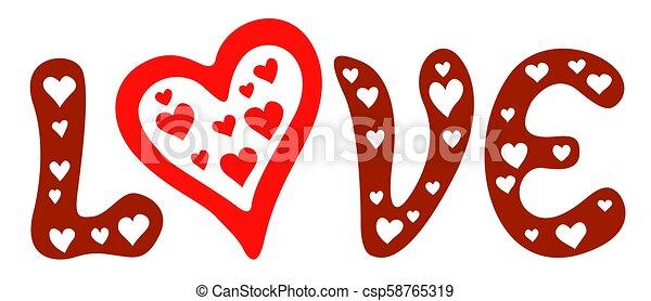 letras, corazones del amor - csp58765319