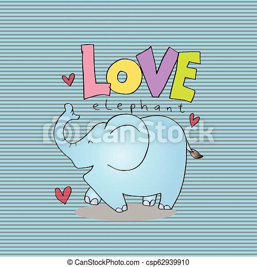 letras, elephant., amor, caricatura, animal - csp62939910
