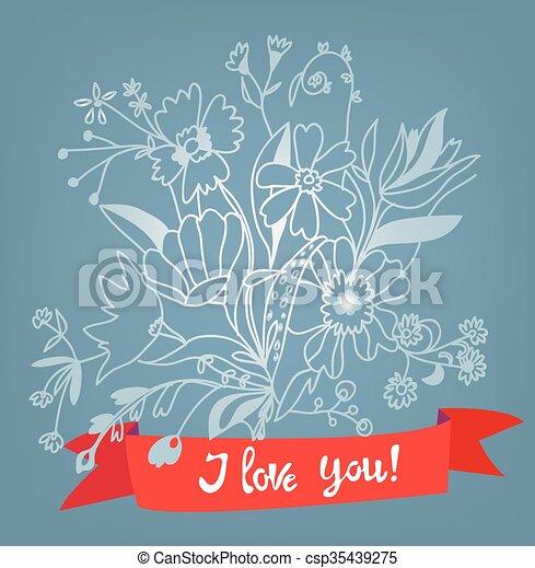 Me encanta tu tarjeta floral con letras - ilustración de estilo retro - csp35439275