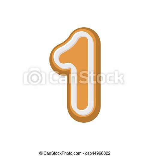 Numero 1 de pan de jengibre. Peppermint Honey-cake ABC uno. El alfabeto de las galletas. Panecillo de letras - csp44968822