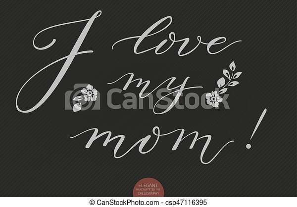 Letras, impresiones, amor, moderno, elegante, mom., tinta, tarjetas ...
