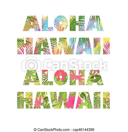Letras, impresiones, hawai, aloha, camiseta, floral vectores eps ...