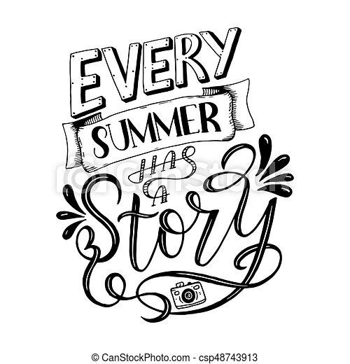 Letras, impresiones, verano, ilustración, composición, citas, vector ...