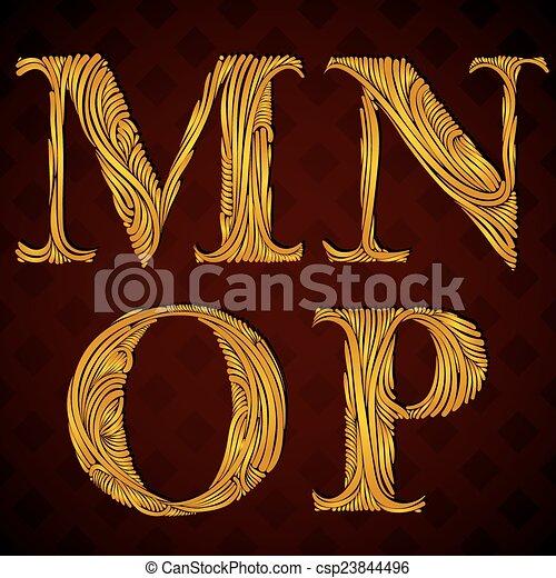 letras, m, este prego, n, floral, p. - csp23844496