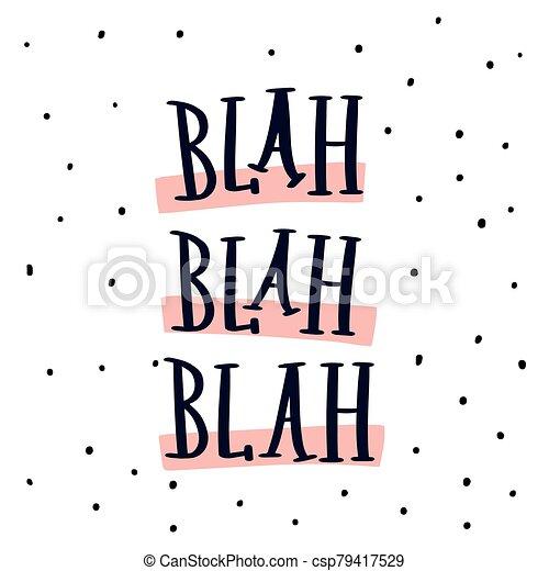 letras, moderno, blah, vector, mano - csp79417529