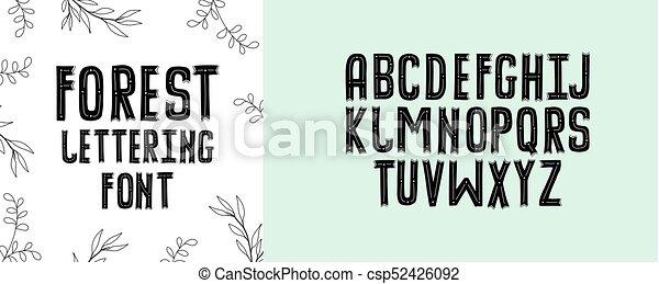 El Alfabeto Moderno Del Bosque Cartas Escritas A Mano Una