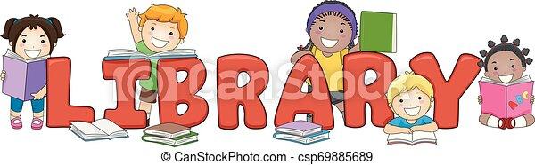 Niños de biblioteca escribiendo ilustraciones - csp69885689