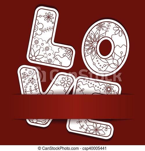 letras, papel, amor, plano de fondo - csp40005441