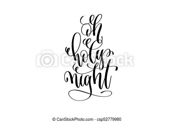 Oh Santa Noche Letra A Mano Frase De Tinta Negra Para