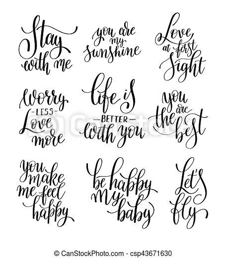 Letras Sobre Conjunto Amor Mano Escrita Negro Frase Blanco