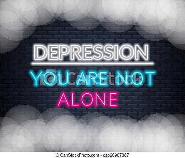 Neon Escribe Depresión No Estás Solo Cita Motivacional