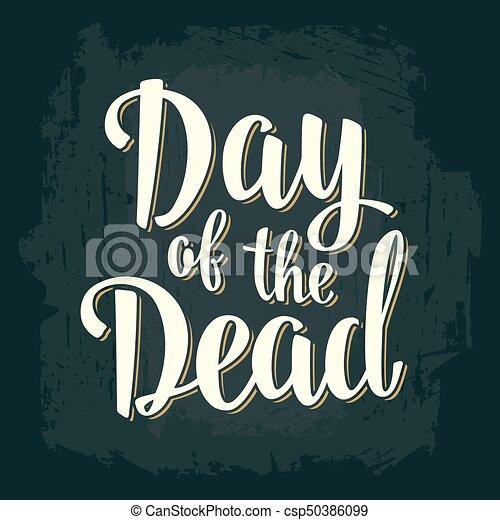 El día del vector de la vendimia muerta letras blancas sobre fondo oscuro. - csp50386099