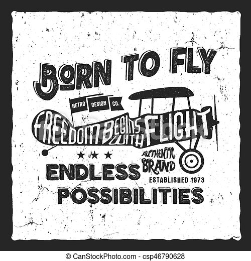 Letras, viejo, exposición, nacido, diseño, printing., biplano, avión ...