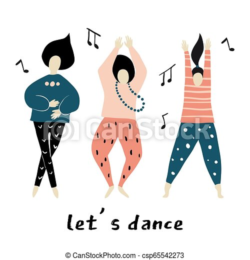 Lets Dance Dancing Girls Vector Illustration Dance Party Happy People Characters Set Of Colorful Characters Vector Canstock