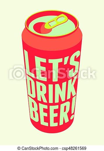 Lets Drink Beer Typography Vintage Poster Retro Vector Illustration