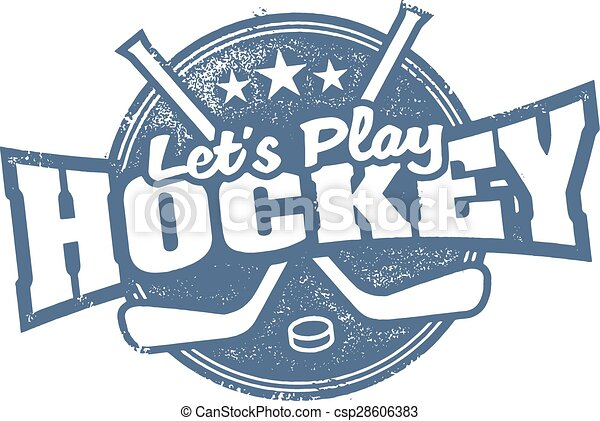 Lets Play Hockey Sports Stamp - csp28606383