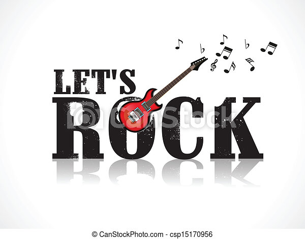 Lets Rock Background With Guitar Vector